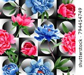 wildflower red and blue peonies ... | Shutterstock . vector #794414749
