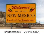 Small photo of Welcome to new mexico sign, land of enchantment.