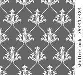 seamless pattern with floral... | Shutterstock .eps vector #794417434