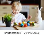 cute toddler child playing with ... | Shutterstock . vector #794430019