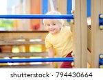 little boy having fun on... | Shutterstock . vector #794430664