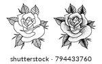 2 roses dot black and white  | Shutterstock .eps vector #794433760