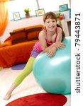 schoolgirl with exercise ball... | Shutterstock . vector #79443871