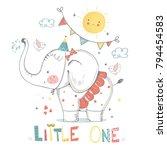 cute elephant baby  girl.... | Shutterstock .eps vector #794454583