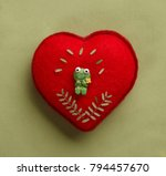 red textile heart with funny... | Shutterstock . vector #794457670