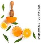 top view of orange slices ... | Shutterstock . vector #794459236
