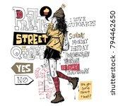 banner with  trendy girl in... | Shutterstock .eps vector #794462650