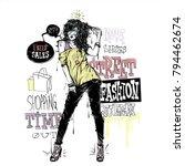 banner with  trendy girl in... | Shutterstock .eps vector #794462674