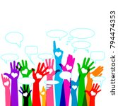 group of raising hands with... | Shutterstock .eps vector #794474353