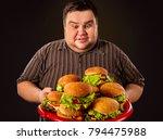 diet failure of fat man eating... | Shutterstock . vector #794475988