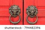 Old Lion Metal Door Knockers O...