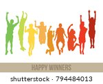 happy winners jumping together | Shutterstock .eps vector #794484013