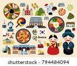 Lovely Korea travel concept set, Korean traditional culture symbol collection, korea country name in Korean