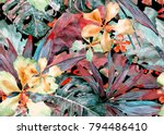 tropical pattern. watercolor... | Shutterstock . vector #794486410