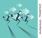 businessman running with arrow... | Shutterstock .eps vector #794487019