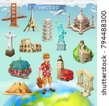 travel  tourist attraction. 3d... | Shutterstock .eps vector #794488300