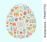 flat outline easter and spring... | Shutterstock .eps vector #794497753
