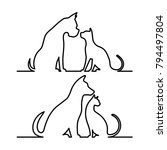 dog and cat icon silhouette. | Shutterstock . vector #794497804