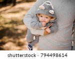 father walking in the park and...   Shutterstock . vector #794498614