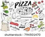 pizza menu hand drawn sketch... | Shutterstock .eps vector #794501470
