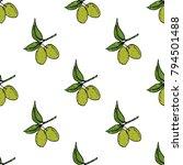 olive branch seamless pattern.... | Shutterstock .eps vector #794501488
