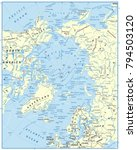 arctic ocean map. highly...