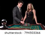 elegant couple at the casino... | Shutterstock . vector #794503366