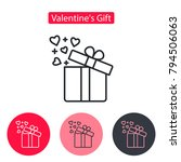 open gift box with fly hearts.... | Shutterstock .eps vector #794506063