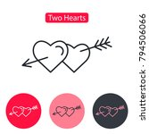two hearts pierced with arrow.... | Shutterstock .eps vector #794506066