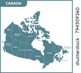 the detailed map of the canada... | Shutterstock .eps vector #794509360