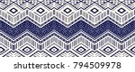 Ikat geometric folklore ornament. Tribal ethnic vector texture. Seamless striped  pattern in Aztec style. Figure tribal  embroidery. Indian, Scandinavian, Gypsy, Mexican, folk pattern.  | Shutterstock vector #794509978