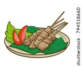 cute and yummy sweet beef satay ... | Shutterstock .eps vector #794518660