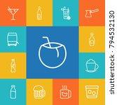 set of 13 beverages outline... | Shutterstock . vector #794532130
