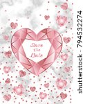 save the date card with pink... | Shutterstock .eps vector #794532274