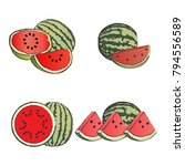 watermelon fruit vector set  | Shutterstock .eps vector #794556589