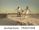 happy family walking on the... | Shutterstock . vector #794557348