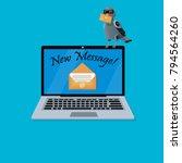new message on laptop screen.... | Shutterstock .eps vector #794564260