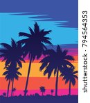 evening on the beach with palm... | Shutterstock .eps vector #794564353