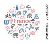 france travel and tourism round ... | Shutterstock .eps vector #794568220