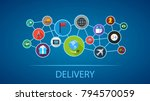 delivery flat icon concept.... | Shutterstock .eps vector #794570059