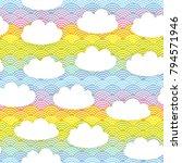 kawaii white clouds seamless... | Shutterstock .eps vector #794571946