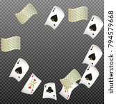 playing cards falling on... | Shutterstock .eps vector #794579668