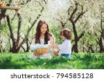 happy family on picnic for... | Shutterstock . vector #794585128