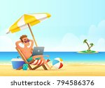 feelancer on the beachworking... | Shutterstock .eps vector #794586376