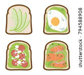 set of avocado toasts done in... | Shutterstock .eps vector #794588908