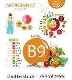 vitamin b9  folate . food... | Shutterstock .eps vector #794592499