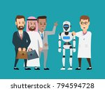 scientist shows robot android... | Shutterstock .eps vector #794594728