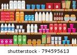 supermarket  shelf with food... | Shutterstock .eps vector #794595613