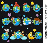 earth emoji smiles of planet... | Shutterstock .eps vector #794595649