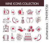 wine icons vector collection... | Shutterstock .eps vector #794595730